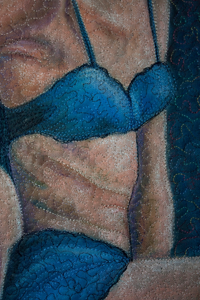 Girl in Blue Stockings detail