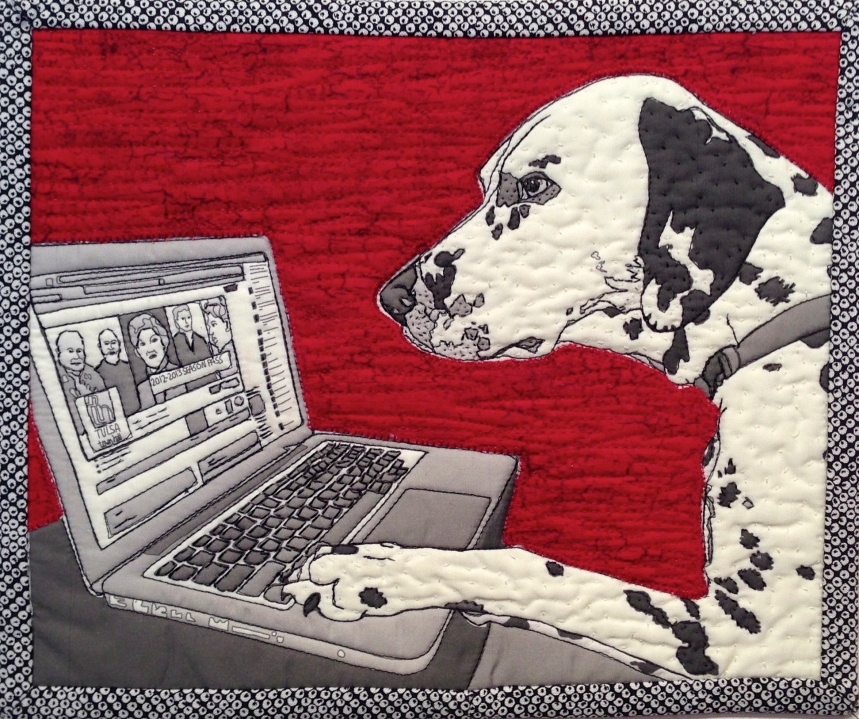 """Reggie Checking Tulsa Town Hall FaceBook Page, 2013 10""""w x 8""""h Private collection"""