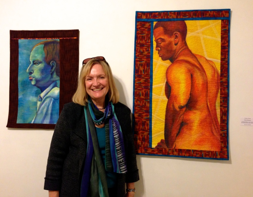 "Posing with my two ""guys"", Portrait of Andrew (left) and Portrait of Eltony (right)"
