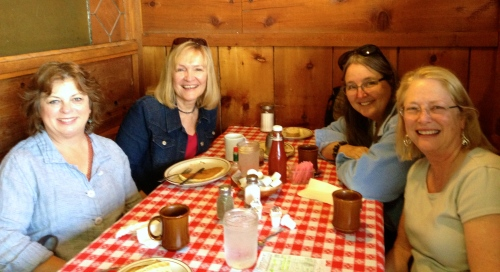 Mary Beth Schwartzenberger, myself, Nicki Bair, and Andi Perejda post eggs and pancakes at Fresno's Train Depot