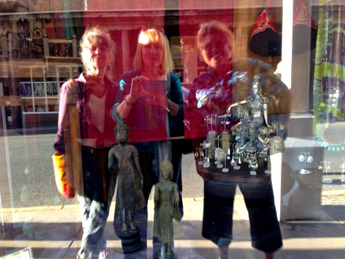 Kristina Voorhees Adams, me and Phyllis Cullen window shopping.....why do the stores in Santa Fe close so early?  It saved us some money!