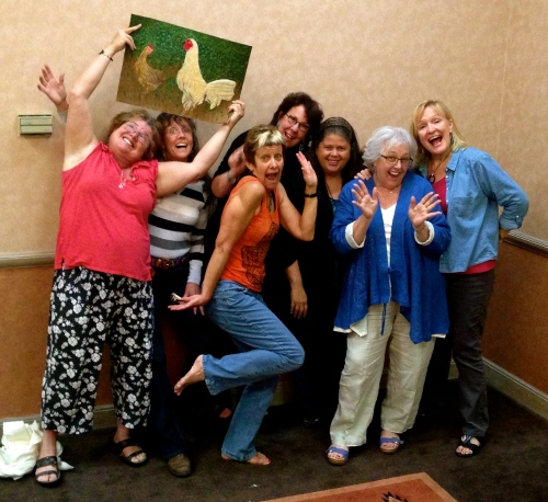 Santa Fe Seven celebrating Mary Pal's class in cheesecloth portraits!! Phyllis Cullen, Kristina Voorhees Adams,  Lee -------, Jennifer Day, Deda Maldonaldo, Mary Pal, Sherry Kleinman (missing from photo Janice Filler)