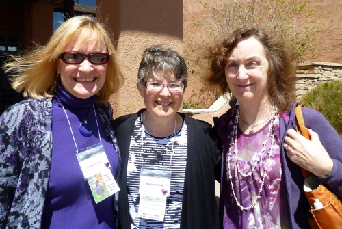 Me, Margaret Blank (Canada), Judy Warer (New York) waiting for bus to tour Santa Fe