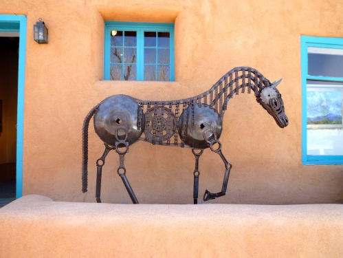 Horse sculpture along Canyon Road (home to the many galleries of Santa Fe).