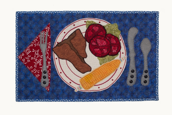 """Whats for Dinner?""  Summer-Time Iowa-Style Dinner, 24""w x 15""h, 2013"