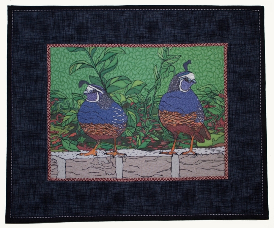 "Backyard Quail Pair, 2013, 27""w x 22""h, Private Collection"