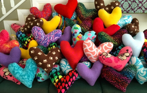 76 Heart Pillows ready for delivery